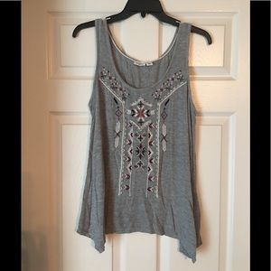 Cato gray tank top with embroidery